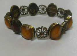 Lia Sophia Toffee Matte gold-tone stretch bracelet with Amber accents - $16.82