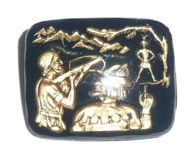 William Tell Shooting Apple w/ Arrow Gold & Black Back Painted Glass Button - $6.92