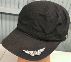 Broner Black Military Cadet Large Cap Hat With Added Wing Badge On Brim  - $13.75