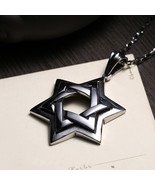 Titanium Steel Hexagram Pendant Star of David Necklace Silver Plated Cha... - $14.69