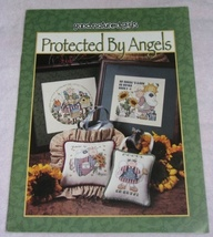 Protected By Angels Cross Stitch Pattern Book Folk Art  - $7.50
