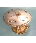 Collectible Lavender Decorated Goose Egg Jewel Trinket Box  - $60.00
