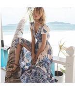 Sexy Deep V-Neck Summer Vintage Boho Floral Print Mid-Calf Long Beach Dress - $61.82
