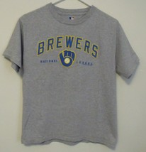Boys MLB Gray Milwaukee Brewers Short Sleeve T Shirt Size Large - $10.95