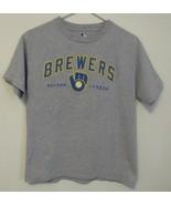 Boys MLB Gray Milwaukee Brewers Short Sleeve T Shirt Size Large - $10.95