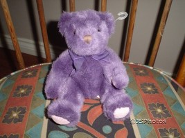 "Russ Berrie Bear "" Teddy "" Purple Plush Handmade 1836 - $67.54"