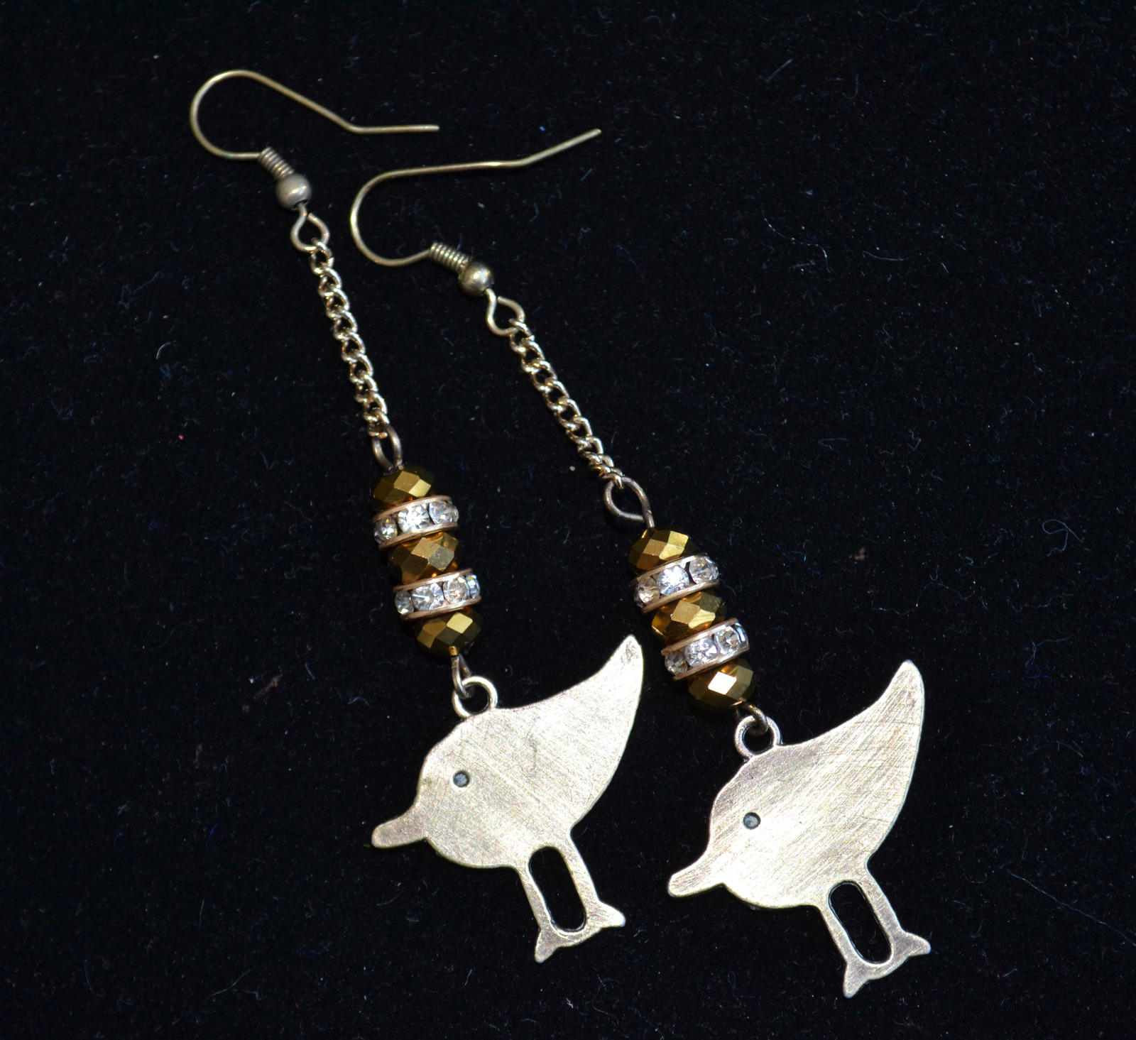 Primary image for Bird earrings, Long designer earrings, bronze Boho earrings (E980)