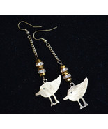 Bird earrings, Long designer earrings, bronze Boho earrings (E980) - $13.99