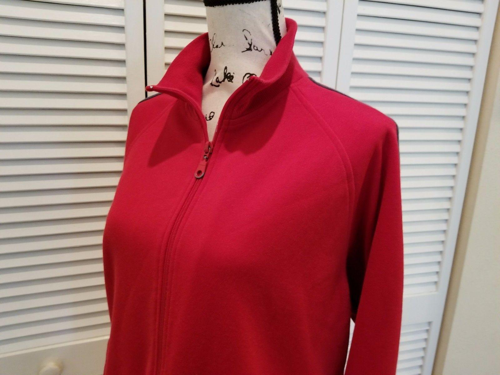 Express Womens Medium jacket long sleeve full zipper red sweat size M (H32)