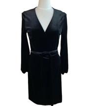 Boden Long Sleeve Black Velvet Bordeau Wrap Dress Holiday Cocktail Size ... - $65.41