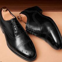 Handmade Men's Black Two Tone Brogues Style Dress/Formal Leather Shoes image 1