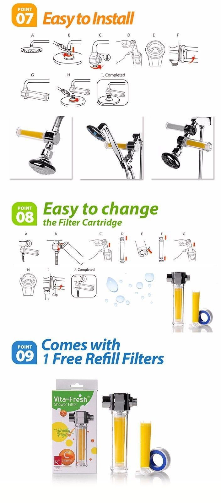 UBS VitaFresh Vita Gel Shower Filter with 4 Vitamin C Gel Cartridge