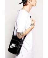 New NIKE HERITAGE Small Items II Shoulder BAG Handbag Leather BLACK BA42... - $55.99