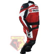 SUZUKI GSX-R RED MOTORBIKE MOTORCYCLE BIKER COWHIDE LEATHER ARMOURED 2 P... - $339.99