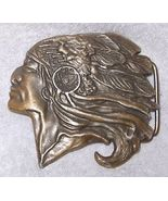 Vintage Native American Indian Chief Profile with Headdress Brass Belt B... - $15.95