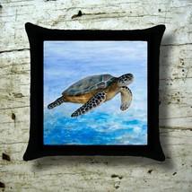 Cushion Throw Pillow Case Sea Turtle 1 Ocean Blue art painting L.Dumas - $23.99+