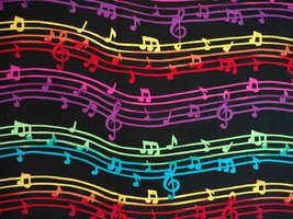 1/2yd music/colorful notes/staff/treble clef on black quilt fabric-free shipping image 4