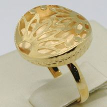 18K YELLOW GOLD RING FINELY WORKED FLOWER CIRCLE CENTRAL DAISY SUN MADE IN ITALY image 2