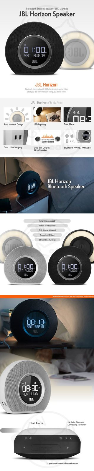 JBL JBL Horizon Speaker Bluetooth Stereo Speaker + LED Lighting Clock