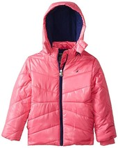Small 4 Little Girl's Nautica Hooded Puffer Jacket Fleece Lined Full Zip Pink
