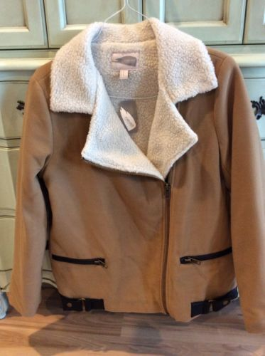 Forever 21 Coat Camel with Fleece Lining Womens Size M Casual Jacket Zip New