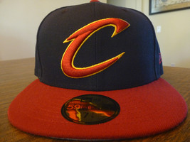 CLEVELAND CAVALIERS NEW ERA 59FIFTY NBA NAVY BLUE 2 TONE FITTED HAT SIZE... - $19.99