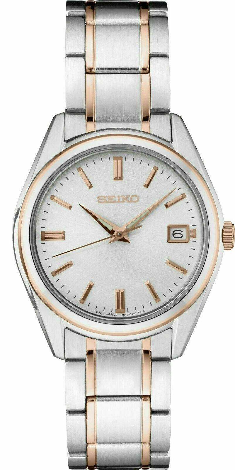 New Seiko Quartz White Dial Two-Tone Steel Bracelet Women's Watch SUR322