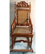 Rocking Chair Handmade Indonesia Antique Vintage UNIQUE ART Wicker and Cane - $1,480.05
