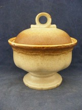 "Mikasa Whole Wheat Cream & Brown Pedistol Sugar Bowl 5"" Tall - $15.00"