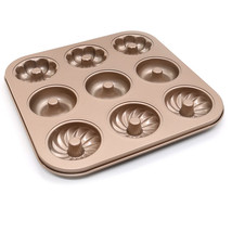 Donuts pan Carbon steel nonstick 9 holes for home donut baking mode gold - $14.01