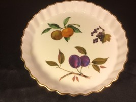 "Royal Worcester Evesham Gold 9"" Quiche Pie Tart Baking Dish - Oven to Table NICE - $14.86"