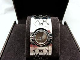 Gucci Twirl Watch 112 Brown Guccissima Stainless Bangle Cuff Bracelet w/... - $523.79