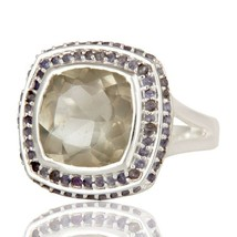 Natural Green Amethyst and Iolite Gemstone Ring... - $67.50