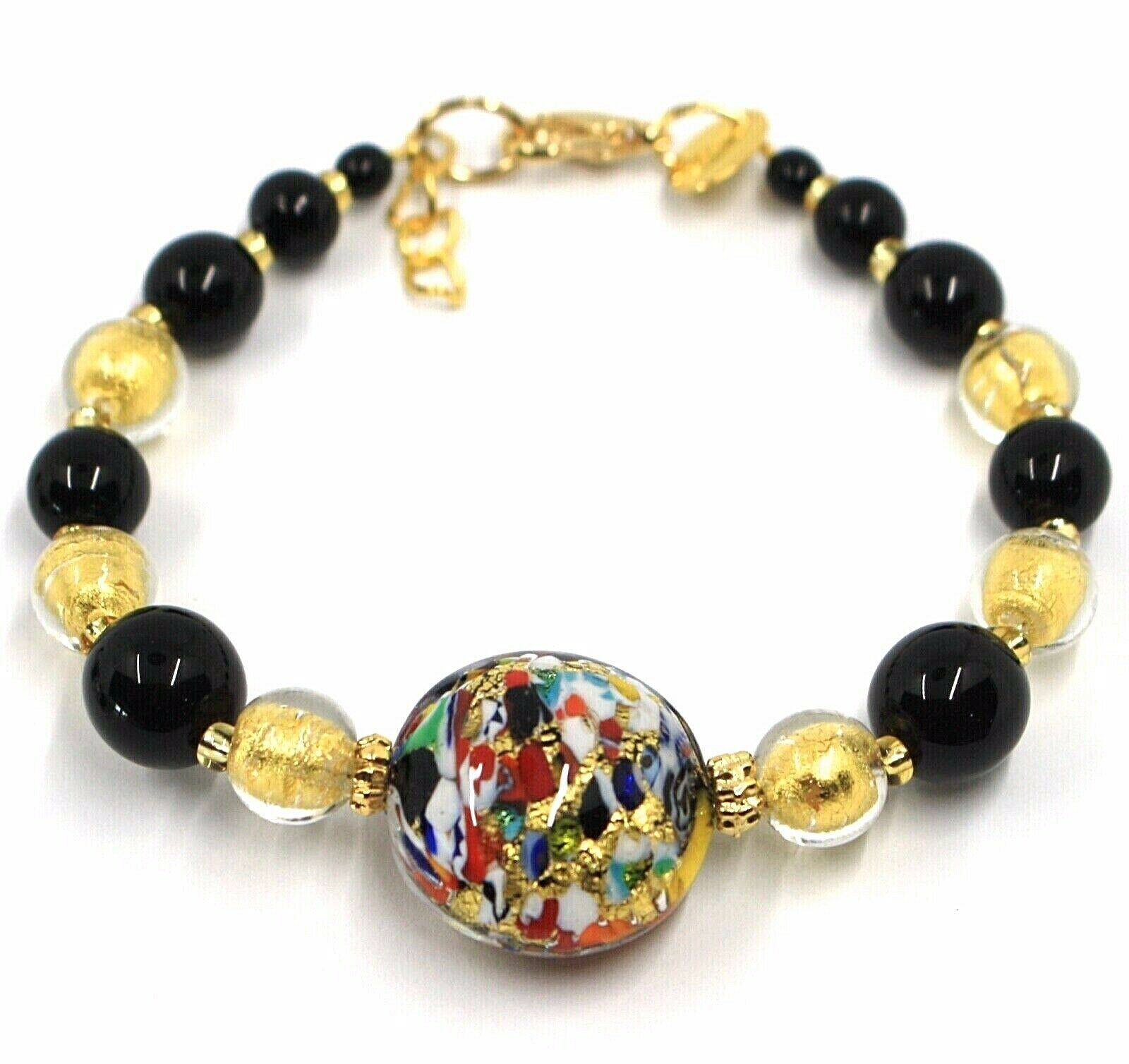 BRACELET MACULATE MULTI COLOR MURANO GLASS DISC, GOLD LEAF, MADE IN ITALY