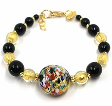 BRACELET MACULATE MULTI COLOR MURANO GLASS DISC, GOLD LEAF, MADE IN ITALY image 1