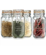 set of 4 Elegant Home Airtight Glass Spice Jar Hermetic Seal Bail & Trig... - £15.09 GBP