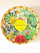 "Tropical Palm Leaf Hibiscus Melamine Plates 9"" Dessert Salad Lunch set of 4 - $41.68"
