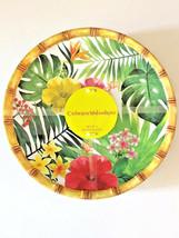 "Tropical Palm Leaf Hibiscus Melamine Plates 9"" Dessert Salad Lunch set of 4 - $805,65 MXN"