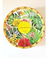 "Tropical Palm Leaf Hibiscus Melamine Plates 9"" Dessert Salad Lunch set of 4 - $41.68"