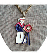 Vintage Ahoy Nautical Ship Captain Enamel Gold Tone Metal Necklace Penda... - $35.00
