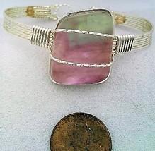 Rainbow Fluorite Silver Wire Wrap Bracelet Sz. 6.5 - $28.95