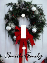 PERSONALIZED CHRISTMAS WREATH RED BOW DOOR LIGHT SWITCH PLATE COVER - $6.25