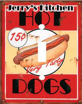 PERSONALIZED VINTAGE HOT DOGS CLASSIC KITCHEN LIGHT SWITCH PLATE COVER - £4.73 GBP