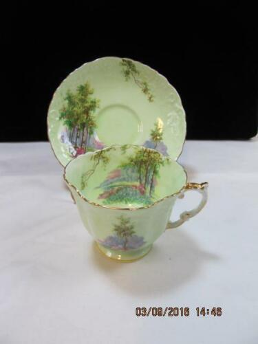 Aynsley Tea Cup & Saucer Set Lime Green with Scenery embossed design detail