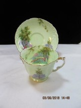 Aynsley Tea Cup & Saucer Set Lime Green with Scenery embossed design detail - $39.59
