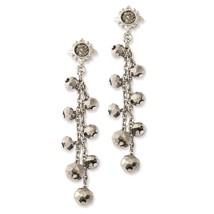 Ladies Silver Tone Hematite Glass Stone Beads Post Dangle Earrings 1928 ... - $36.25