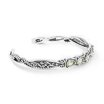 925 Silver Peridot Five Stone Cuff - Medium - $77.63