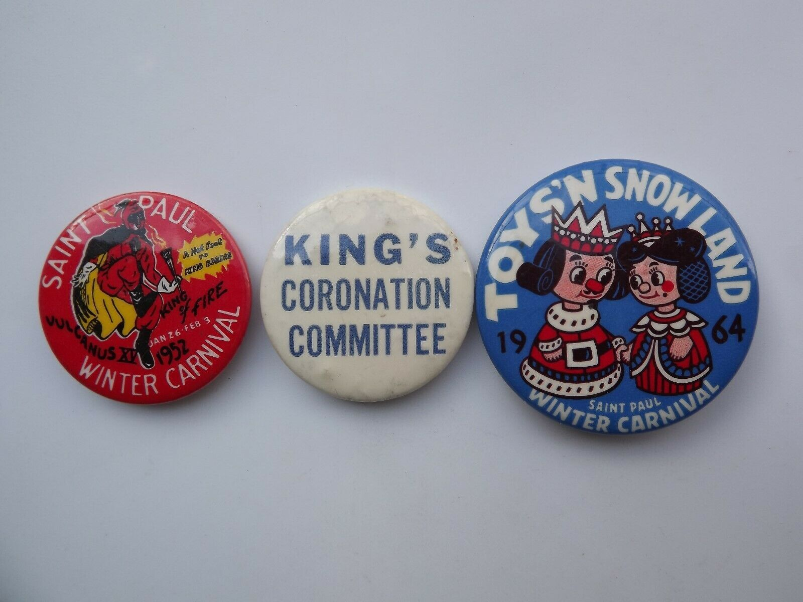 Lot of 3 Vintage St. Paul Winter Carnival Pinback Buttons