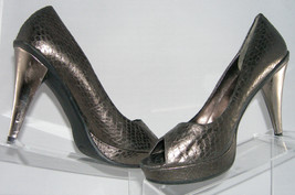 Kenneth Cole Reaction Peep Show snake platform grey pump shoe women 10M heel - $9.31