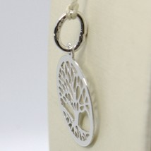 18K WHITE GOLD TREE OF LIFE ROUND FLAT PENDANT CHARM, 0.85 INCHES MADE IN ITALY image 2